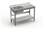 Stainless steel table with sink and under shelve