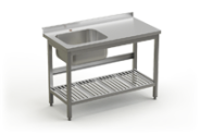 Stainless steel table with sink and perforated under shelve