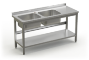 Stainless steel table with 2 sinks and under shelve