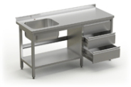 Stainless steel table with sink, under shelve and 3 drawers unit