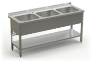 Stainless steel table with 3 sinks and under shelve