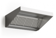 Stainless steel wall mounted ventilation hood, front raised