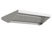 Stainless steel central ventilation hood, front raised