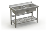 Stainless steel table with 2 sinks and perforated under shelve