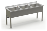 Stainless steel table with 3 sinks