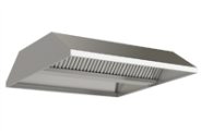 Stainless steel central ventilation hood, front lowered