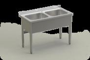 Nerūdijančio plieno stalas su 2 plautuvėmis