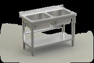 Nerūdijančio plieno stalas su 2 plautuvėmis ir lentyna