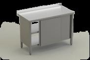 Nerūdijančio plieno stalas su 2 lentynomis ir durimis