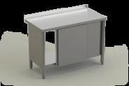 Nerūdijančio plieno stalas su lentyna ir durimis