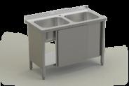 Nerūdijančio plieno stalas su 2 plautuvėmis ir durimis