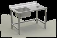 Nerūdijančio plieno stalas su plautuve prie indaplovės įėjimo