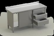 Nerūdijančio plieno stalas su lentyna, durimis ir 3 stalčių bloku