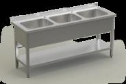 Nerūdijančio plieno stalas su 3 plautuvėmis ir lentyna