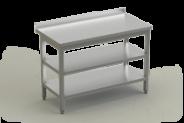 Nerūdijančio plieno stalas su 2 lentynomis