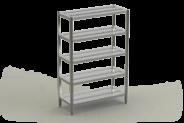 Nerūdijančio plieno stelažas 5-ių perforuotų lentynų