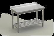 Nerūdijančio plieno stalas su perforuota lentyna