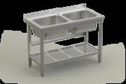 Nerūdijančio plieno stalas su plautive ir perforuota lentyna