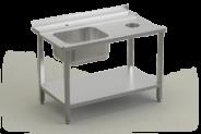 Nerūdijančio plieno stalas su plautuve ir lentyna prie indaplovės įėjimo