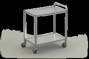 Nerūdijančio plieno serviravimo vežimėlis su 2 lentynomis
