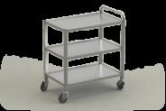 Nerūdijančio plieno serviravimo vežimėlis su 3 lentynomis