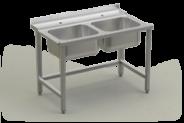 Nerūdijančio plieno stalas su 2 plautuvėm