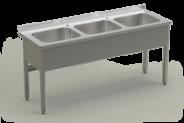 Nerūdijančio plieno stalas su 3 plautiuvėmis